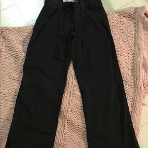 Dynamite Black Linen Wide Leg Pants